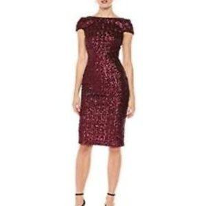 Dress The Population Marcella Wine Red Sequin Midi